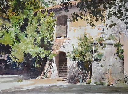 Vieille grange à Paradou, dans les Alpilles en Provence (aquarelle)