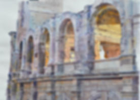 aquarelle des arènes d' Arles en Provence