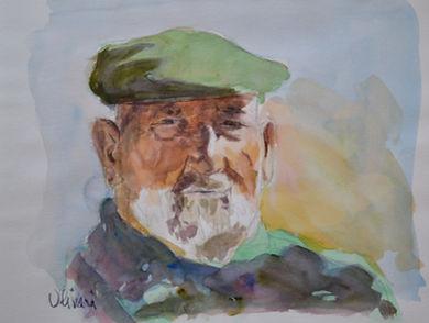 Aquarelle. Portrait d'homme (paysan)