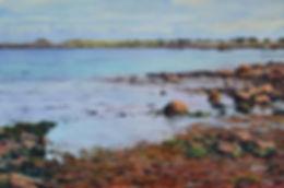 Aquarelle marine de Bretagne représentant L'anse de Portsall (Finistère Nord)