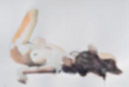 nu féminin allongé (aquarelle)