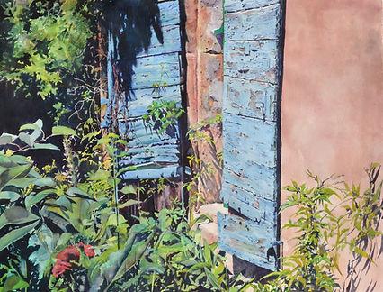 Vieux volets d'un mas ancien au Paradou en Provence(aquarelle)