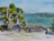 Aquarelle petit format représentant un paysage de Provence