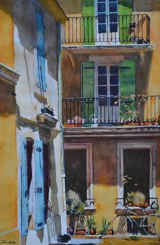 Aquarelle. Provence. Vieille rue d'Arles. Place de la Redoute.