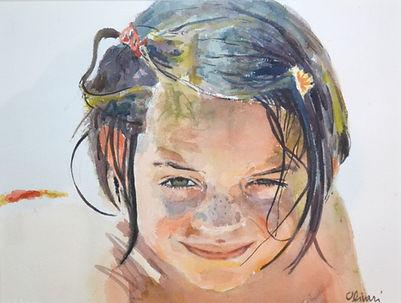 Aquarelle. Portrait d'enfant à la plage.