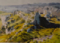 aquarelle. Les Alpilles près de Mouries, en Provence