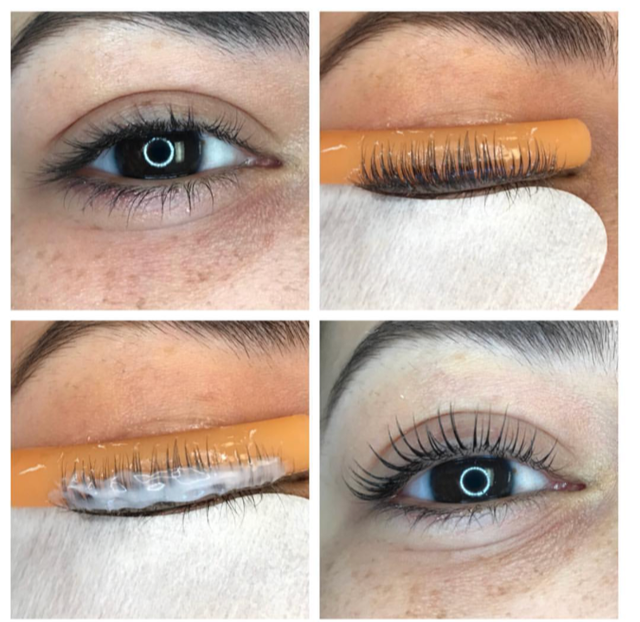 Eyelashes before and after a lash lift