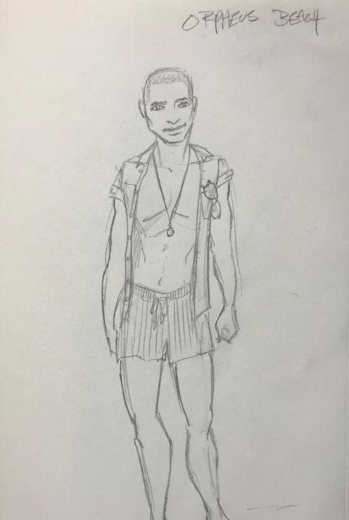 Costume Sketch of Orpheus Beach