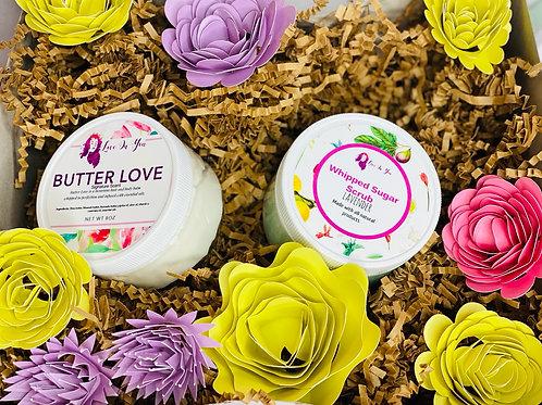 butter love balm and body scrub duo