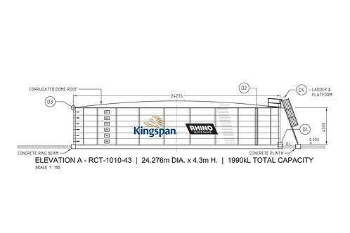 Tanks RCT-D-1010-43 (1,989,849 L) Dia: 24.276m, H: 4.3m