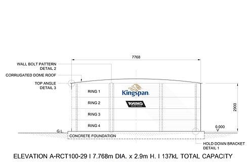 Tanks RCT 100-29 ( 137,420 L) Dia: 7.768m, H: 2.9m