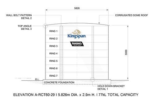 Tanks RCT  60-50 ( 133,291 L) Dia: 5.826m, H: 5.0m
