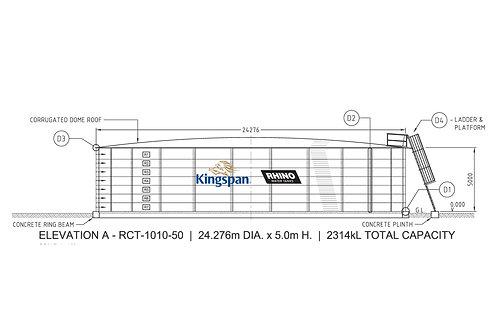 Tank RCT-D-1010-50 (2,313,778 L) Dia: 24.276m, H: 5.0m