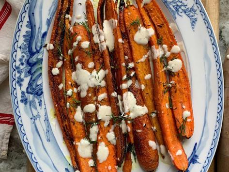 Roasted Carrots with a Lemon Tahini Glaze