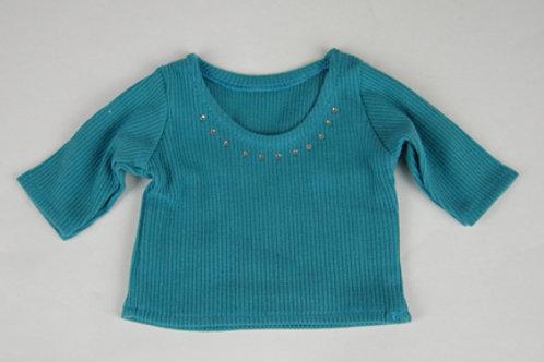 Turquoise 3/4 sleeve Rhinestone shirt