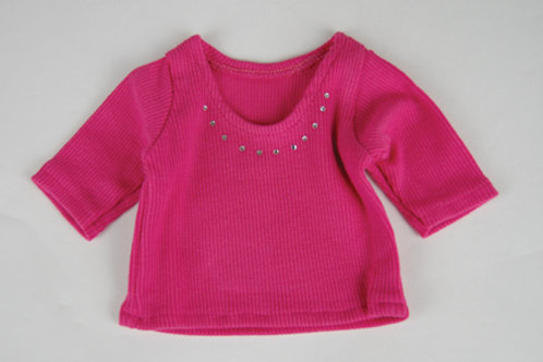 Hot Pink 3/4 Sleeve Rhinestone Shirt