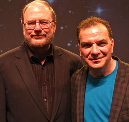 Alan Safier (George Burns) with Say Goodnight Gracie playwright Rupert Holmes at an audience talk-back.