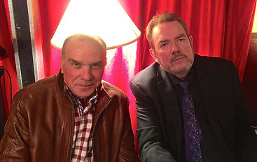 Actor Alan Safier is backstage with songwriter Jimmy Webb after a performance.