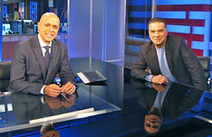 "NBC Anchor David Ushery interviews Alan Safier on ""New York Nightly News"""
