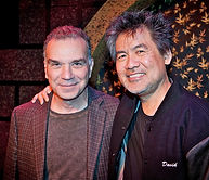 Alan Safier visiting with playwright David Henry Hwang (M Butterfly)