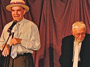 """Alan Safier on stage with legendary Broadway lyricist Tom Jones (""""The Fantasticks""""), singing one of his great songs from the musical """"Celebration""""."""
