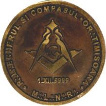 Macheta medalie Marea Loja Nationala - Echerul si Compasul Timisoara