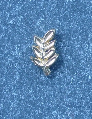 Insigna acacia, metal comun aurit
