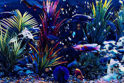 Abstract Midnight Aquarium