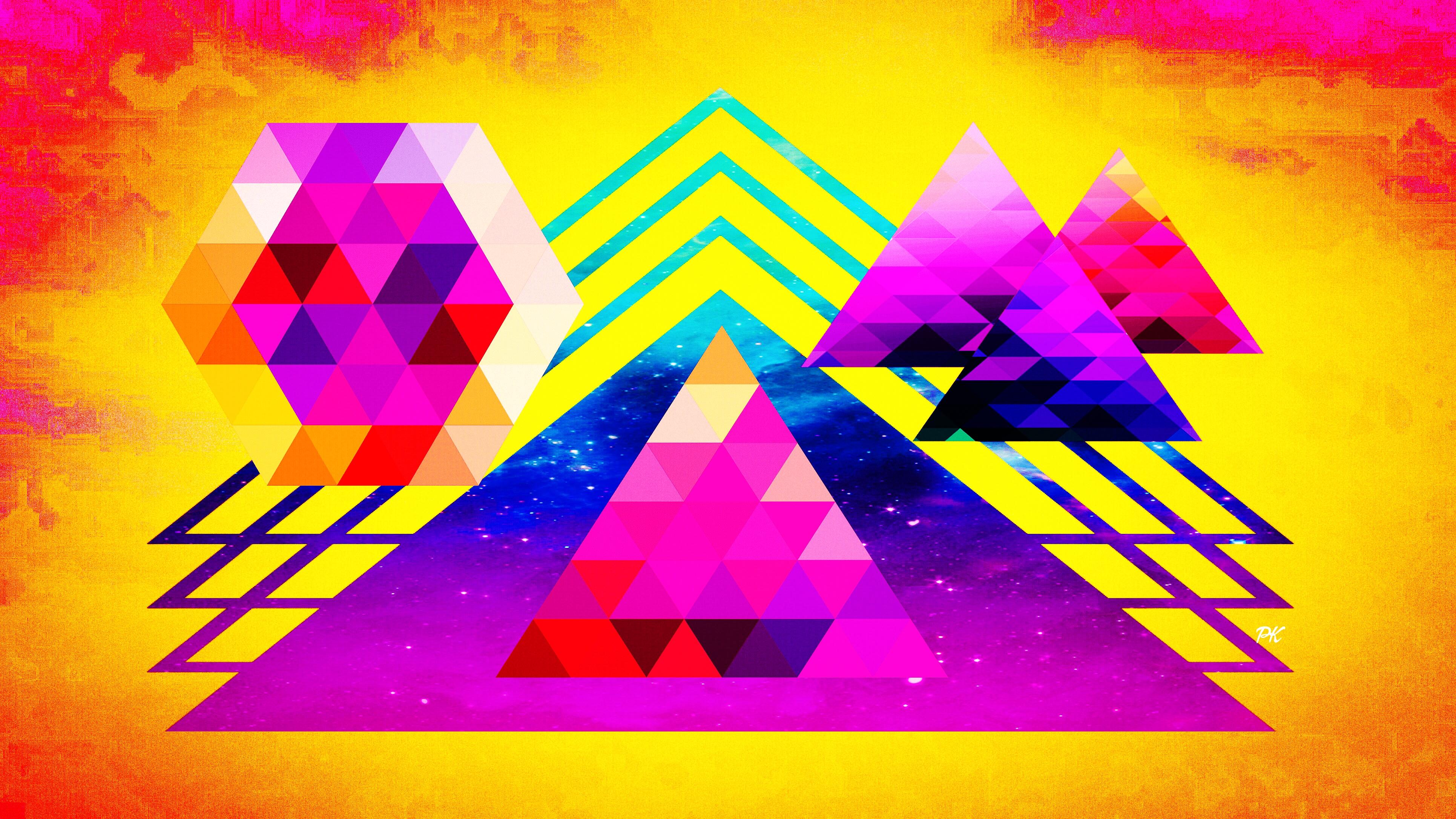 Geometric Yellow Pink Teal