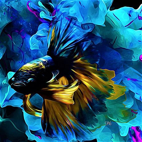 Abstract Fish Black Gold