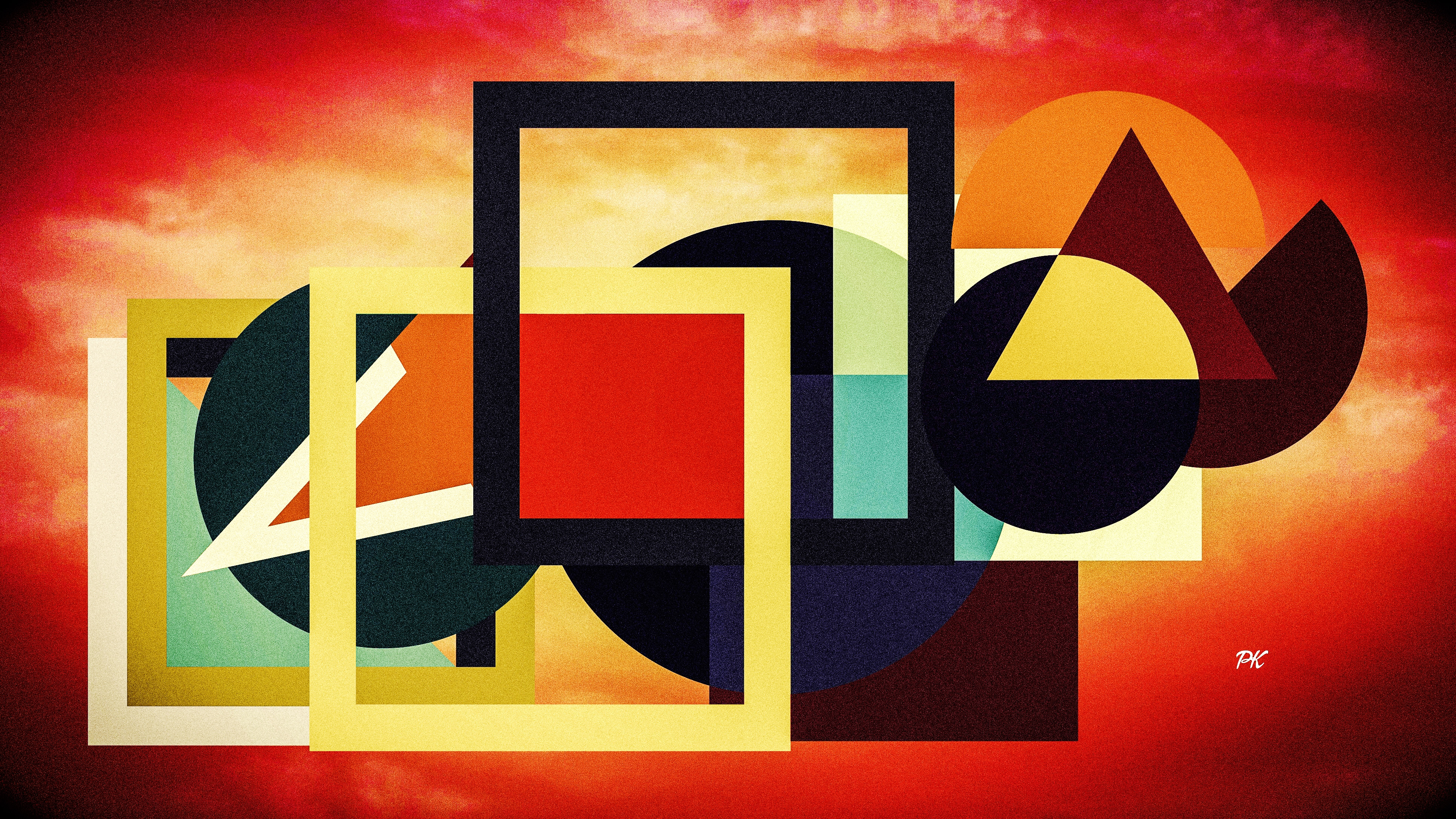 Geometric Red Black Tan