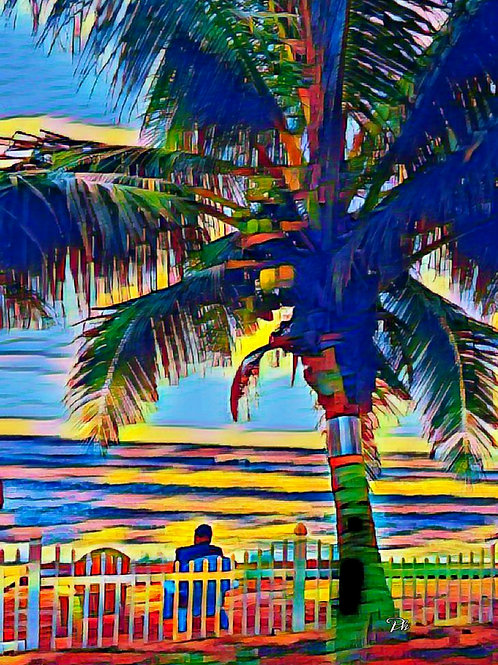 Ocean & Palm Tree