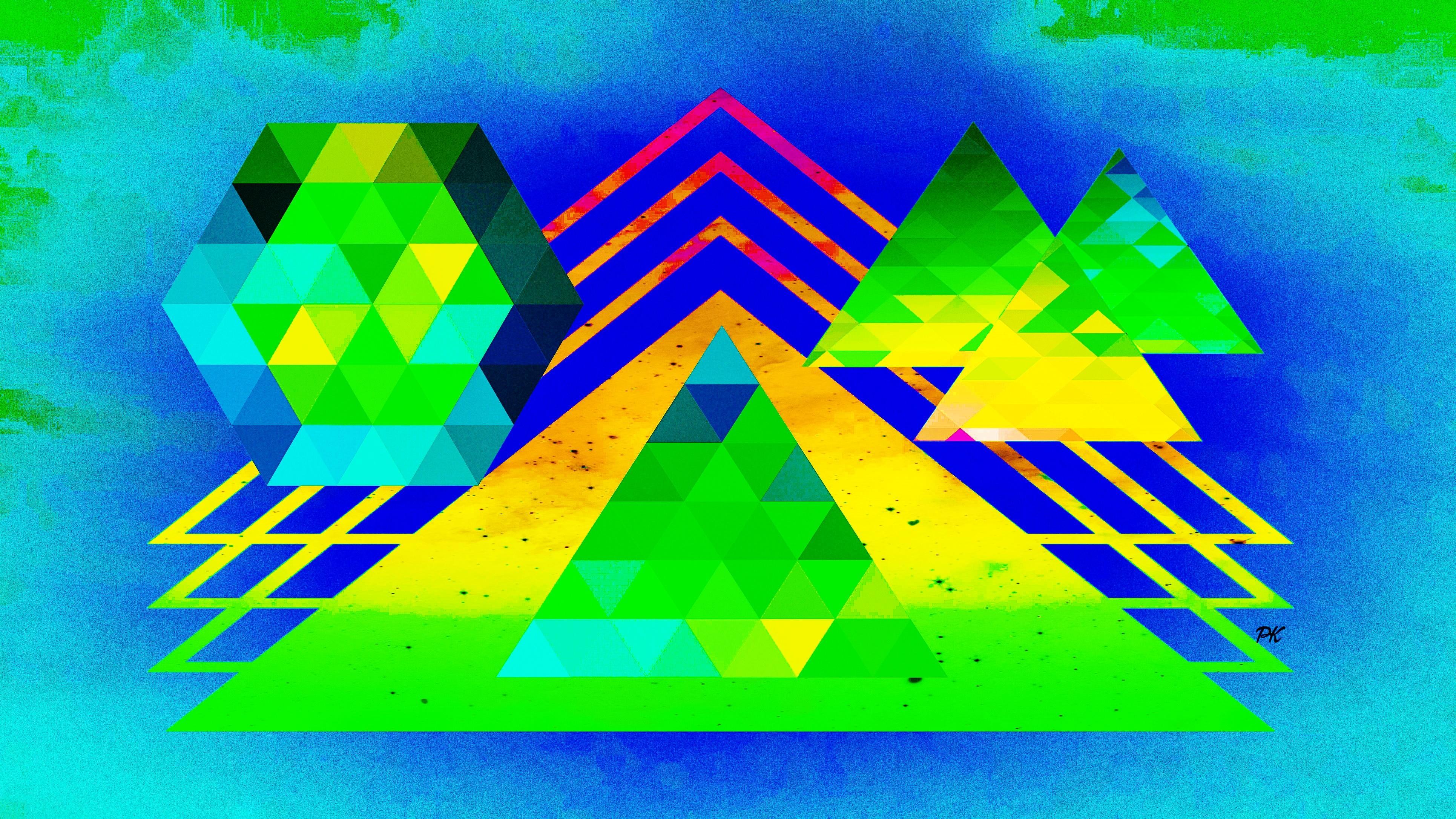 Geometric Lime Blue Yellow