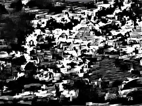 Abstract City On Fire BW