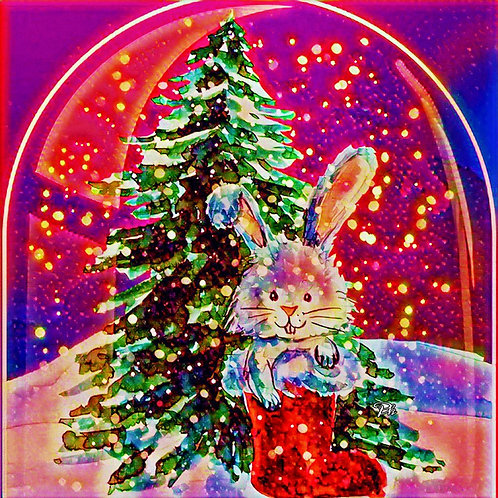 Abstract Christmas Rabbit