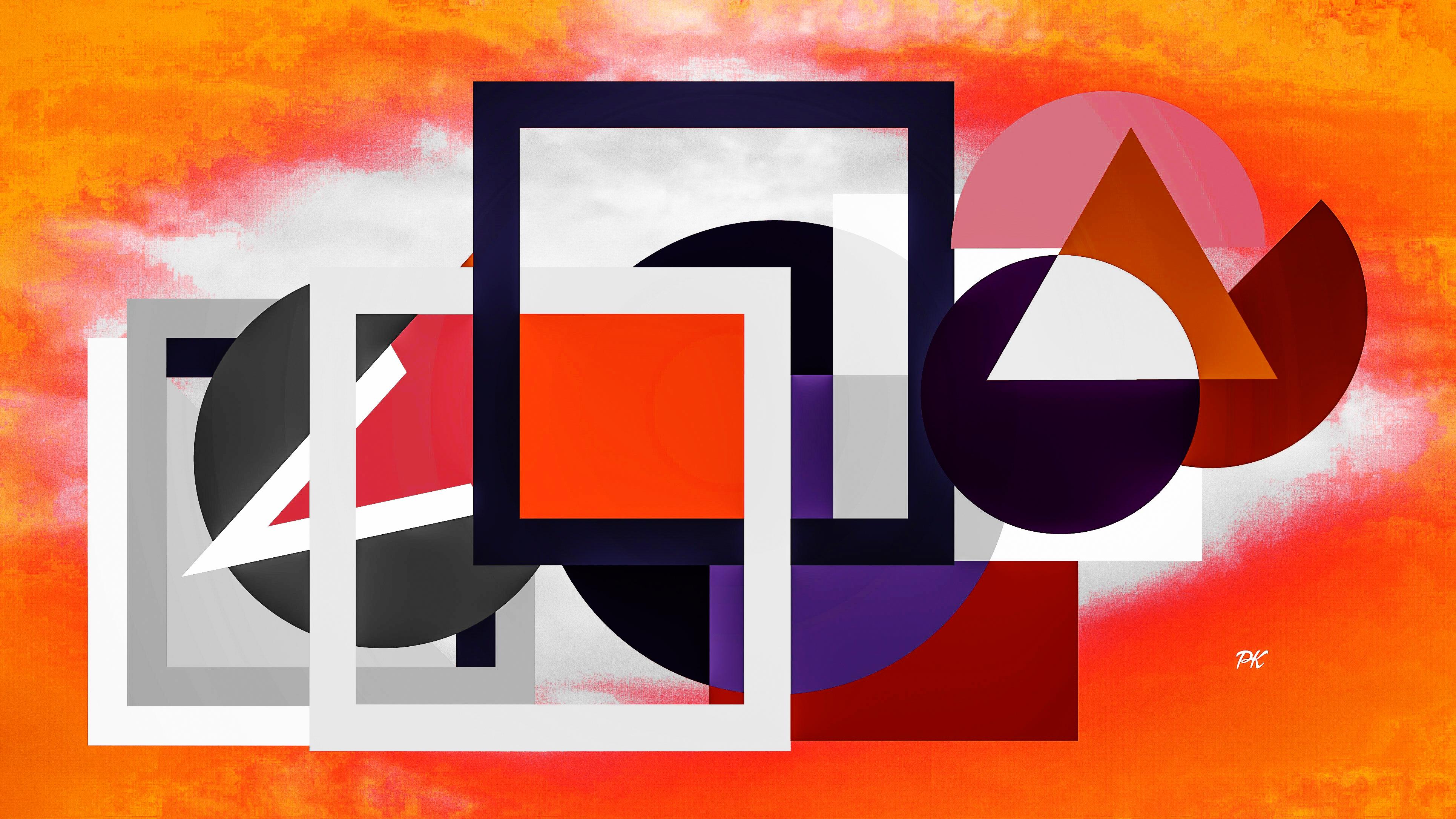 Geometric Orange Grey Black