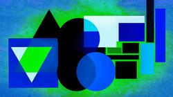 Geometric Blue Black Lime