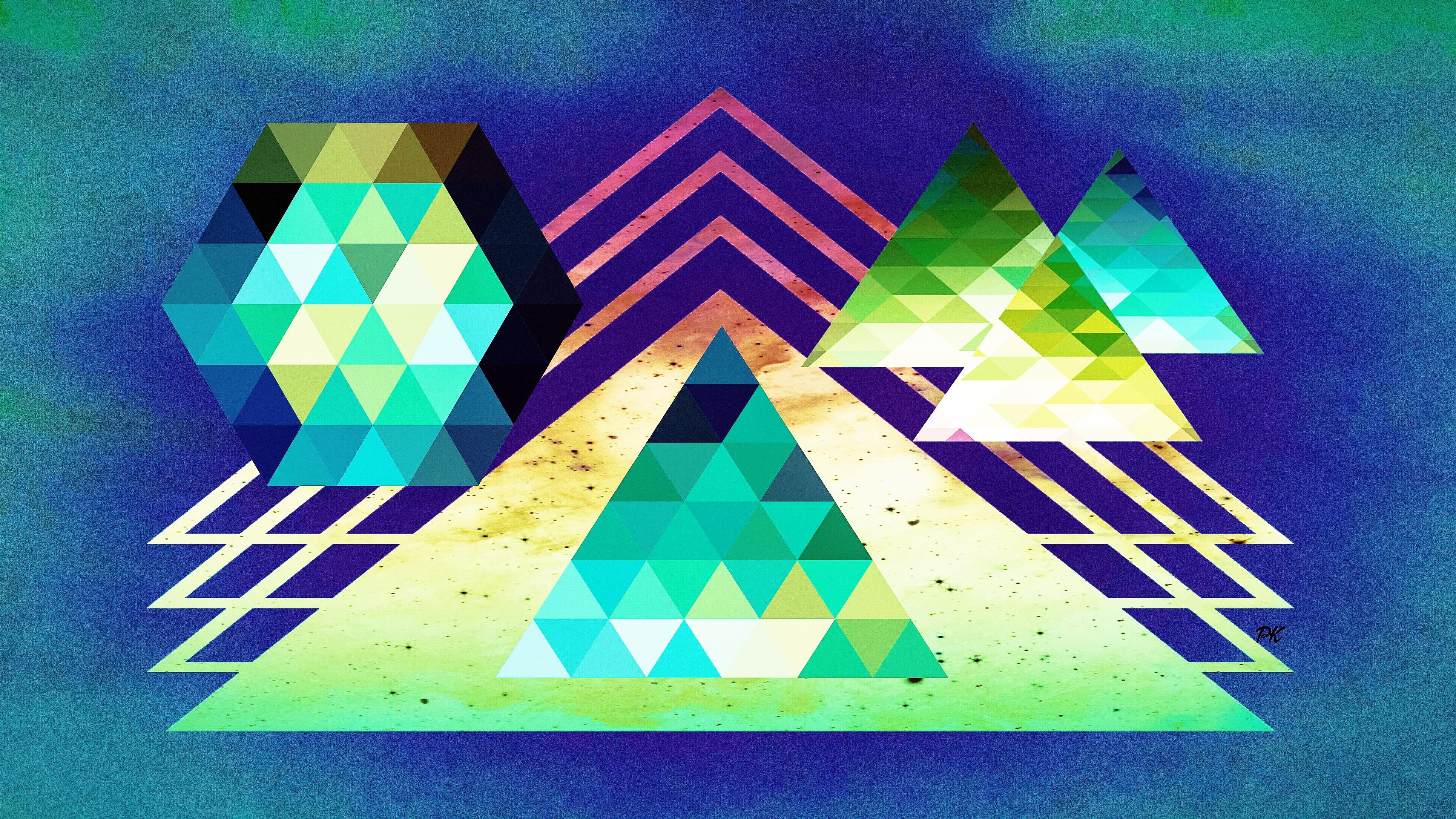 Geometric Blue Teal Beige