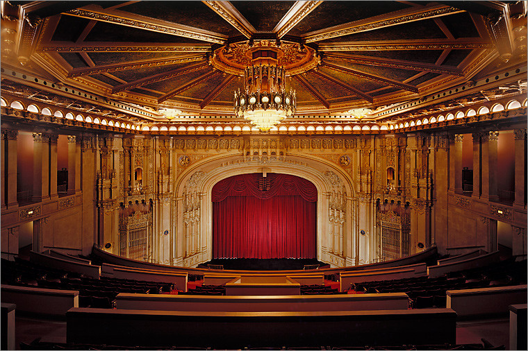 Fox Theatre built as a movie palace in 1929 for $2.5 mil. The building was demolished but the interior saved.