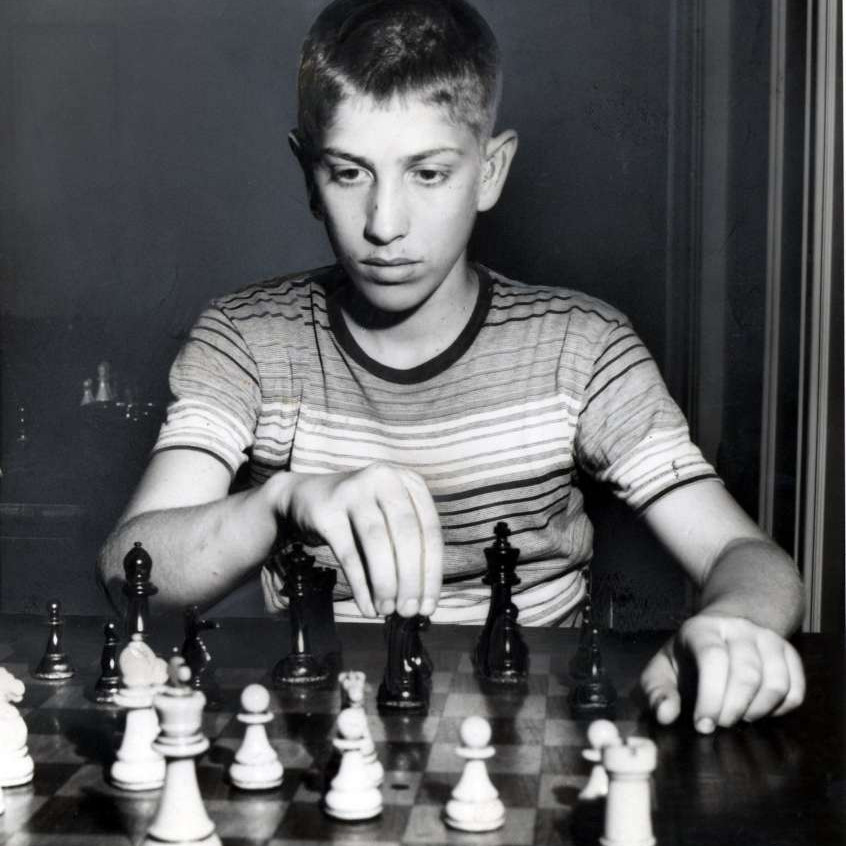 Bobby Fischer, chess genius, here 14 years old in NYC 1957