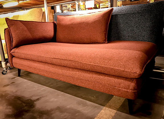 2P COUCH SOFA FABRIC RED/BROWN/NAVY