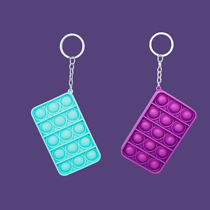POP IT- מחזיק מפתחות באבלס מלבן סגול או טורקיז