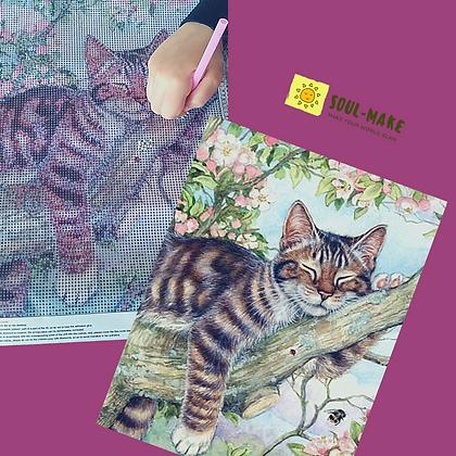 ערכת שיבוץ יהלומים- חתול על גזע עץ
