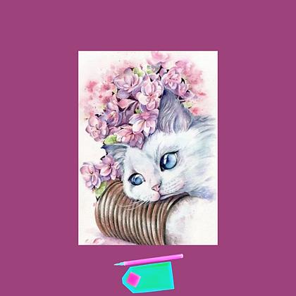 ערכת שיבוץ יהלומים-חתול ופרחים