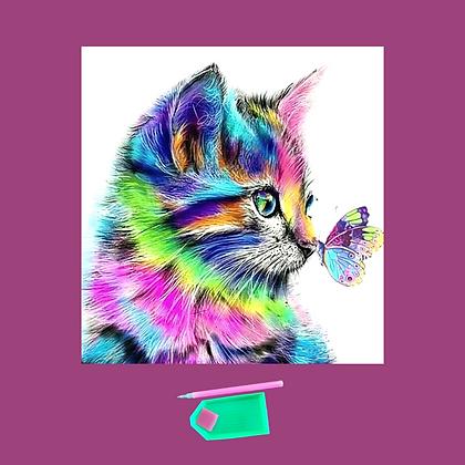 ערכת שיבוץ יהלומים-חתול עם פרפר
