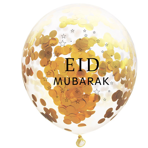 5X  Eid Mubarak Confetti Gold Balloon