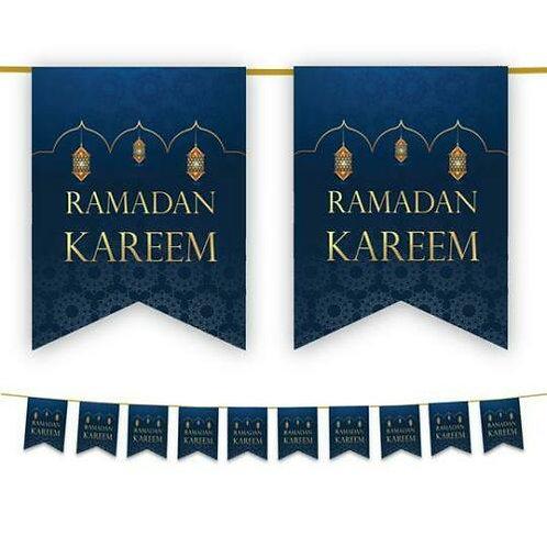 Ramadan Mubarak Bunting (Blue & Gold)