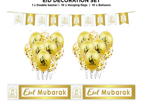 Eid Mubarak 21pcs Gold / White Set