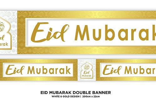 Eid Mubarak Double Banner ( White / Gold Star 2021