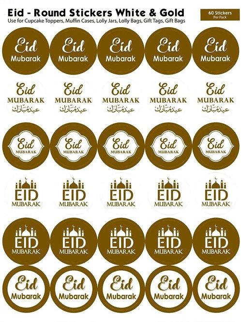 Eid Mubarak Round Stickers (60 White/Gold